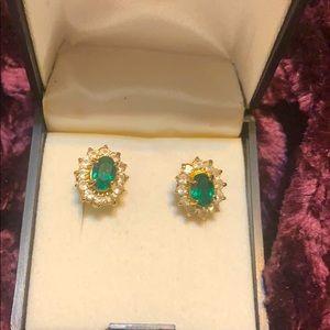 costume emerald and diamond gold stud earrings